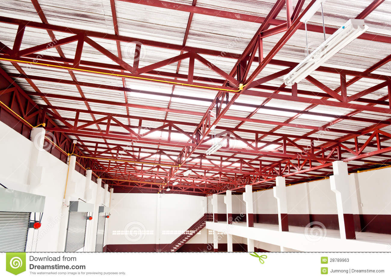 Metal Roof Construction Stock Image Image Of Inside