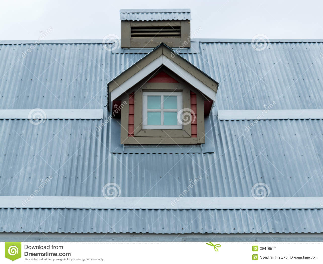 Metal Roof Small Dormer Window Architecture Detail Stock