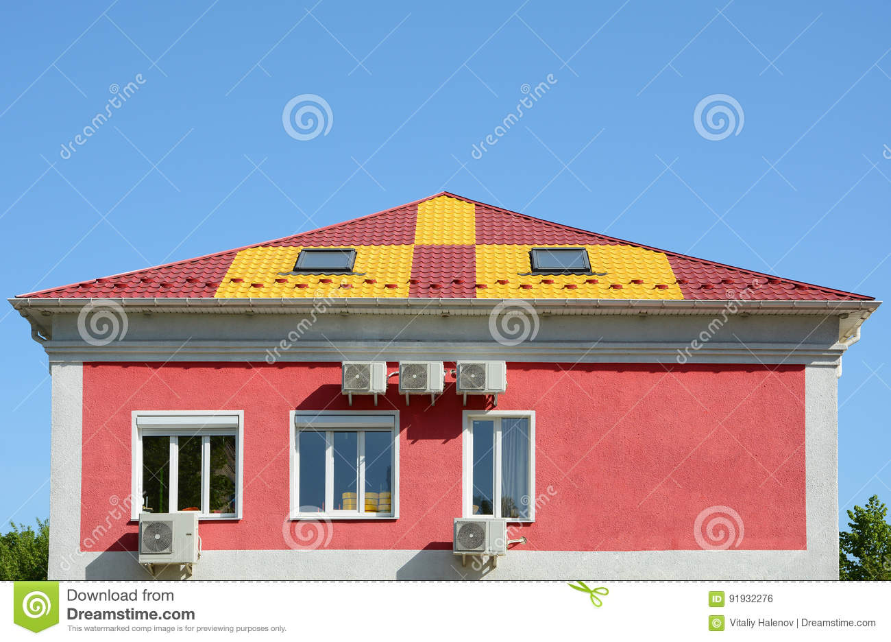 Metal Roofing Construction House With A Mansard And Skylight Windows Rain Gutter And Snow Guard A Multi Colored Metal Roof Stock Photo Image Of Guard Rain 91932276