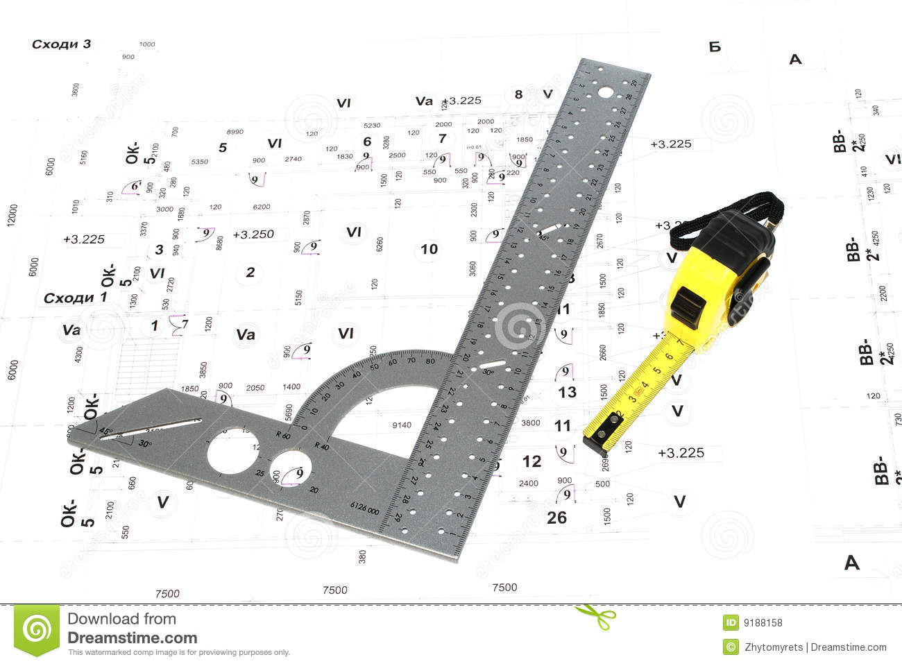 Download The Metal Ruler And Wiring Diagram. Stock Photo - Image of laptop,  equipment