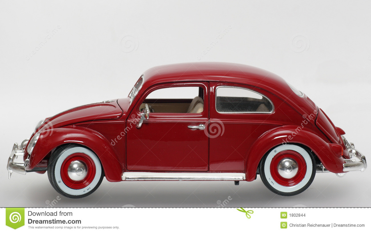 metal scale toy model old vw beatle 1955 sideview stock