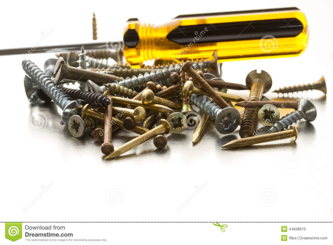 Collection of metal screws and nails on light-grey d8331553094
