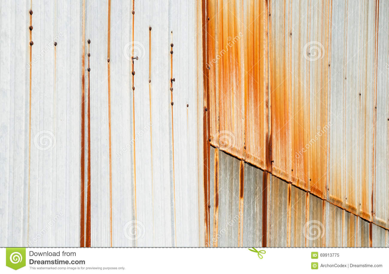 Metal siding with vertical rust stains stock image for Vertical metal siding
