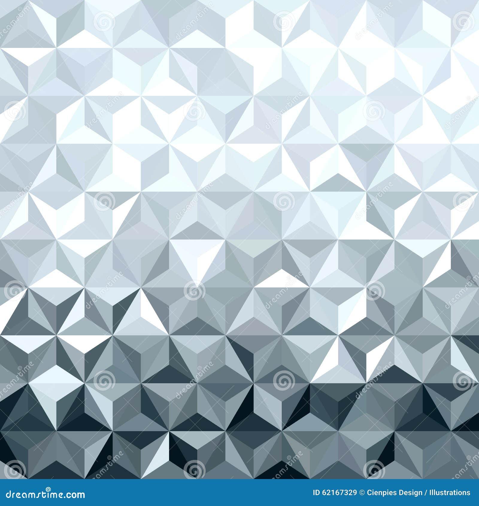 Metal Silver 3d Geometry Low Poly Seamless Pattern Stock