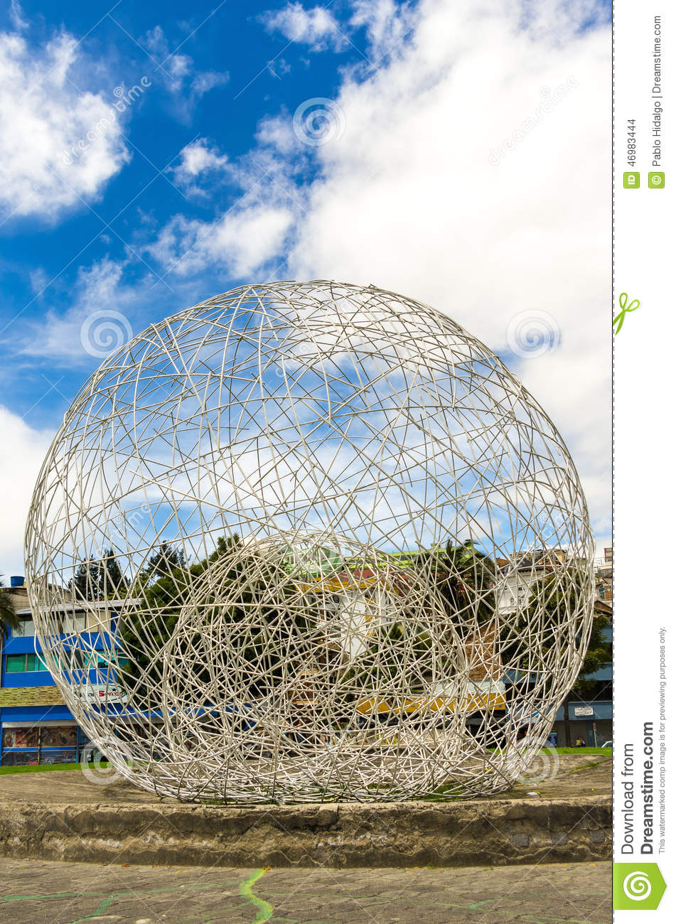Sculptural Spheres Crazy Wonderful: Metal Sphere Sculpture Park In Quito Ecuador South Stock