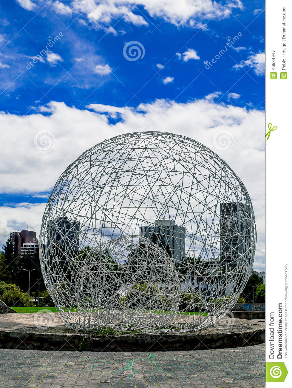 Sculptural Spheres Crazy Wonderful: Metal Sphere Sculpture In Park Quito Ecuador South Stock