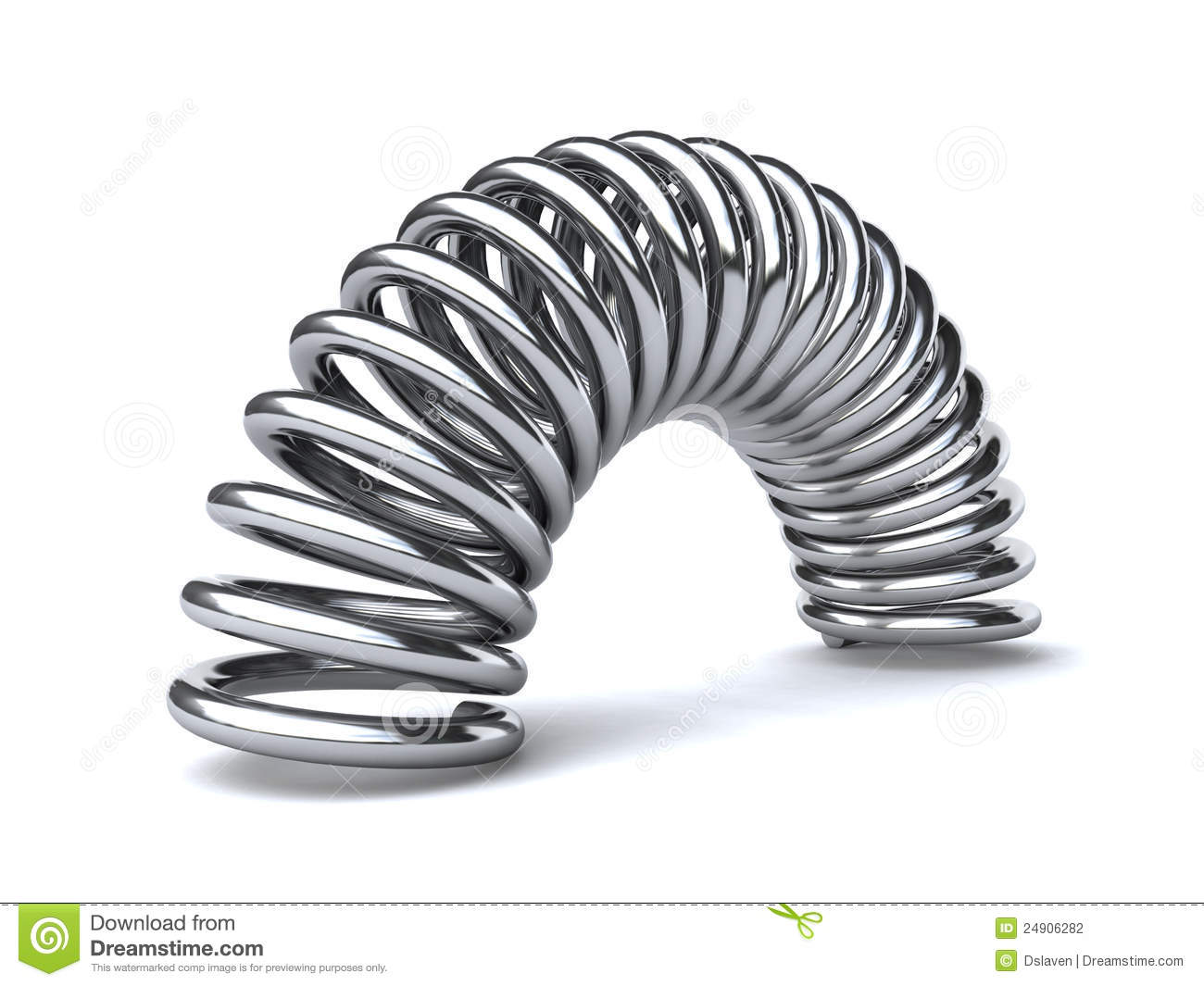 Metal spring on the white background (3d render).