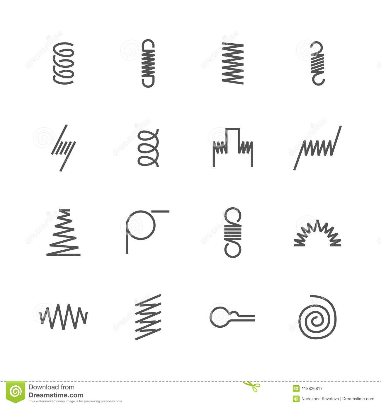 Metal Spring Flat Line Icons. Variety Of Flexible Coil, Elastic ...