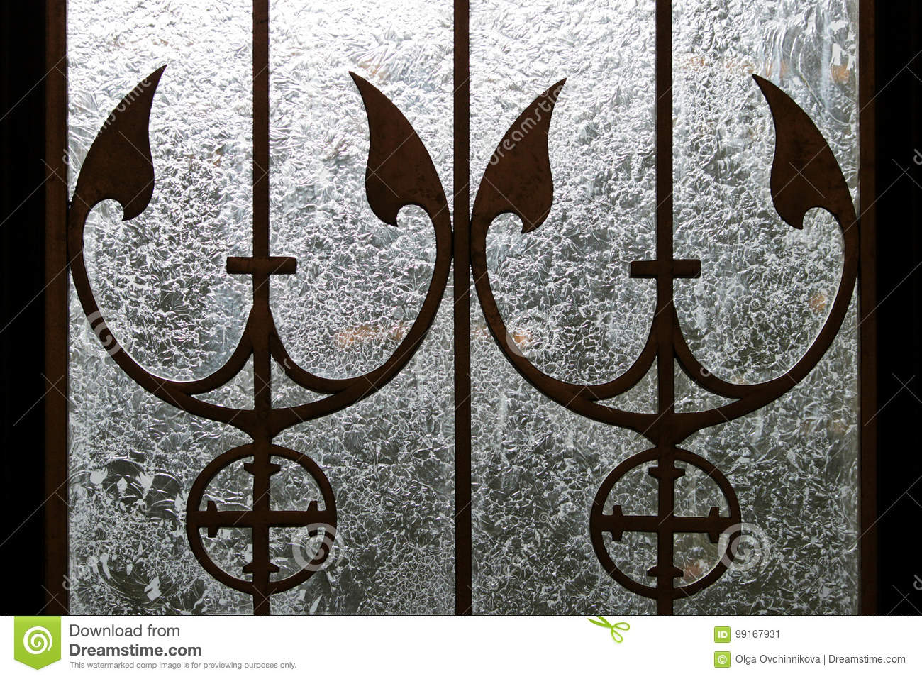 Metal Stained Glass Patterns On Glass Doors With Marine Themes
