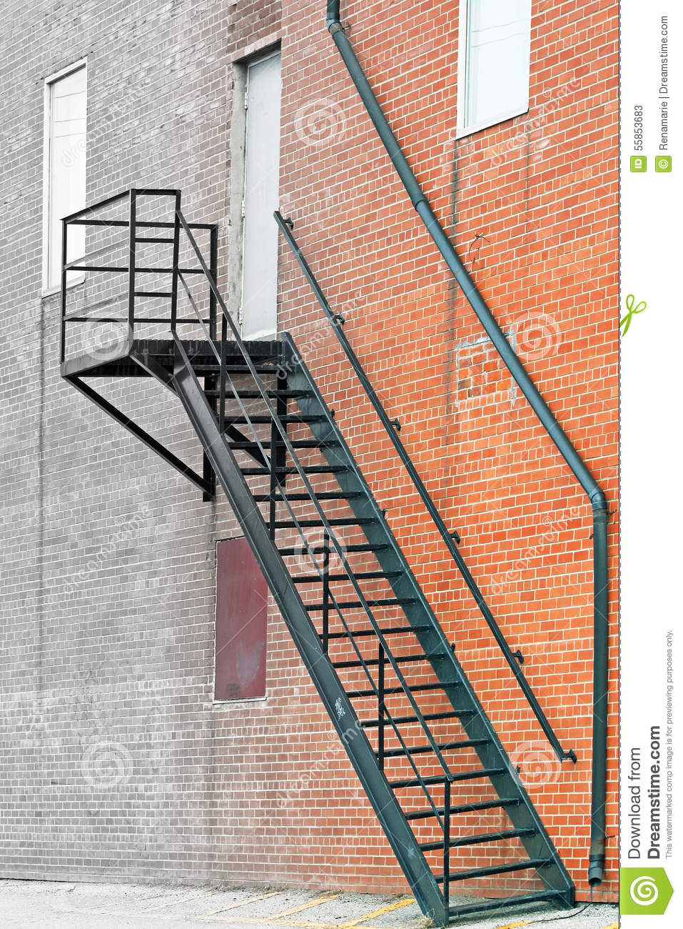 House Exterior Stair Tower : Metal stair fire escape on exterior of brick building