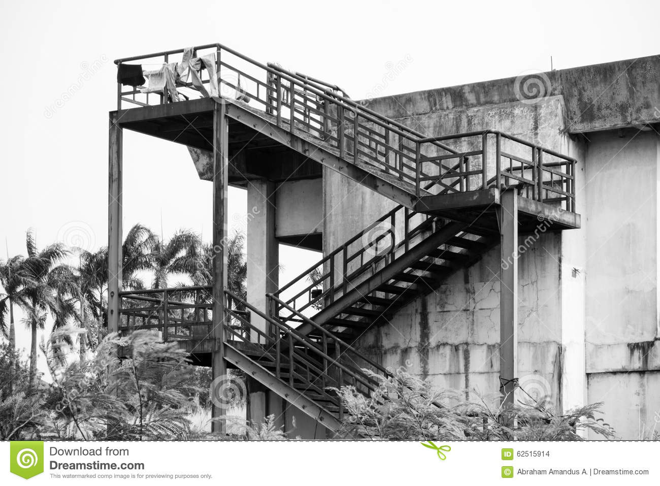 Metal Staircase Construction Stock Photo