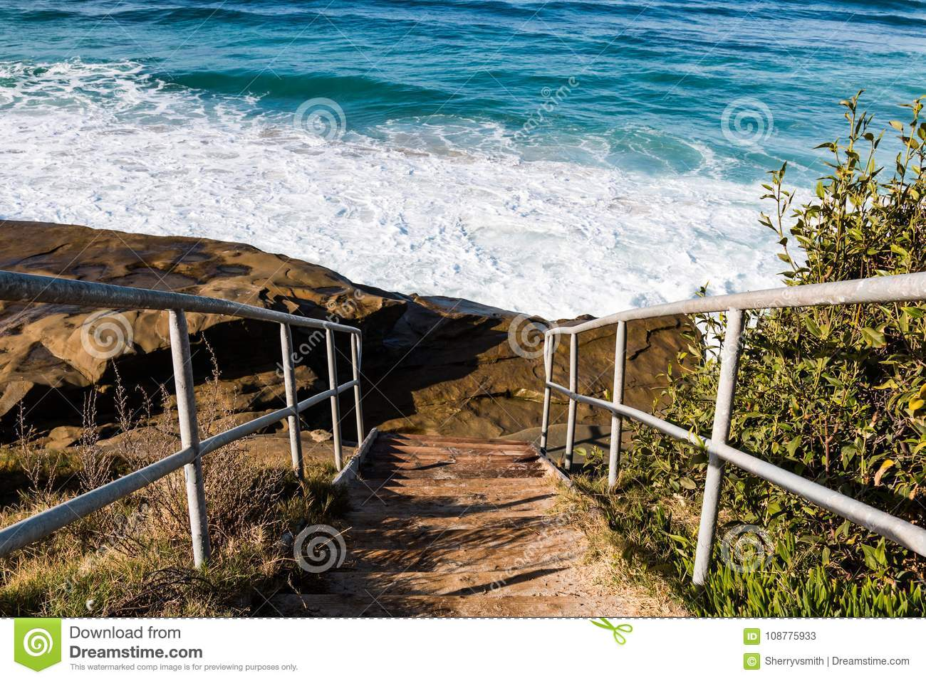 Metal Staircase to Windansea Beach
