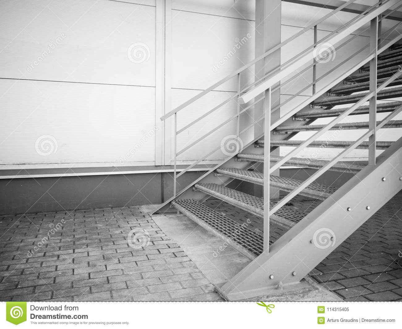 Download Metal Stairs Going Up On The Side Of Industrial Building Wall  Stock Image   Image