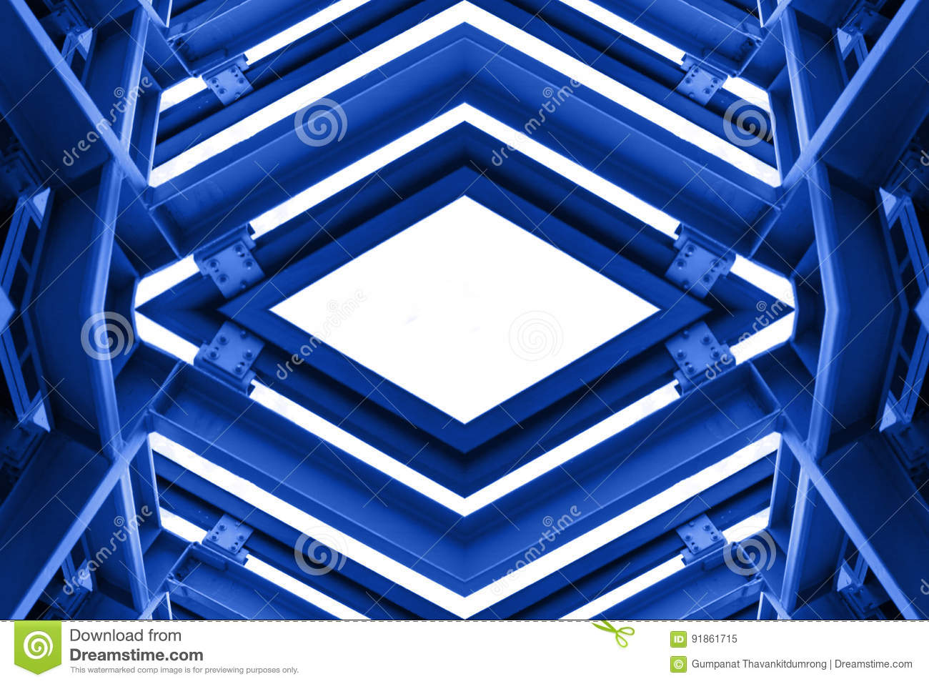 Metal structure similar to spaceship interior in blue tone