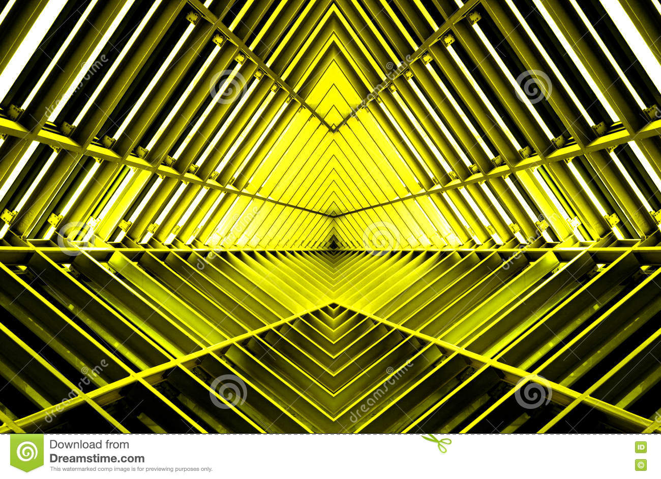 Metal structure similar to spaceship interior in yellow light.