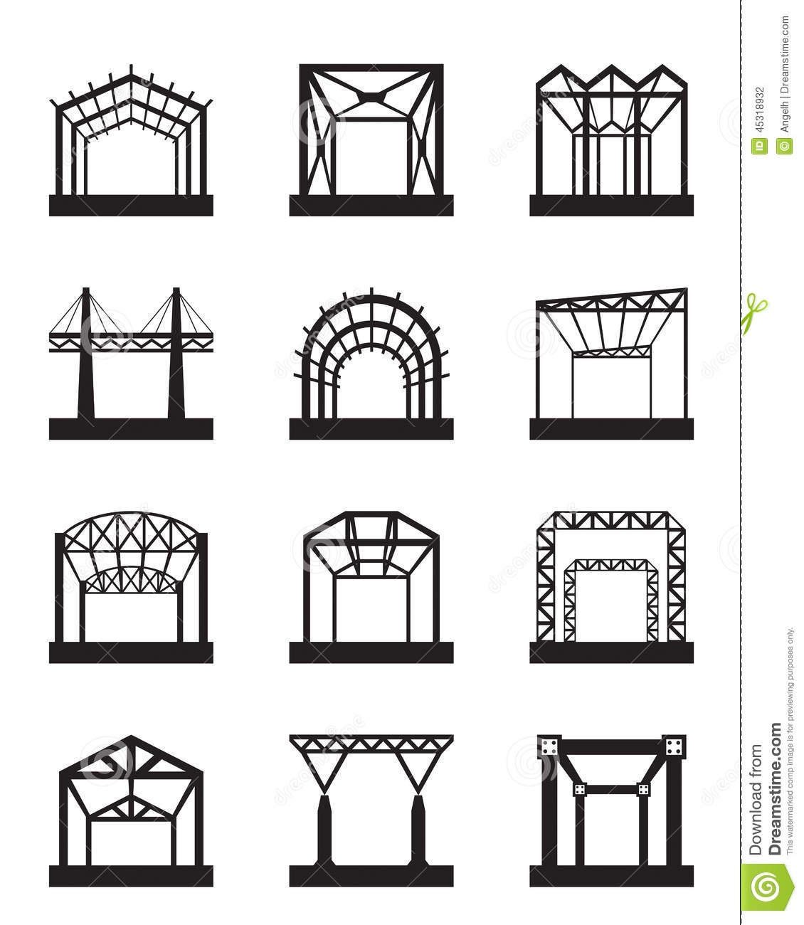 metal structures icon set stock vector