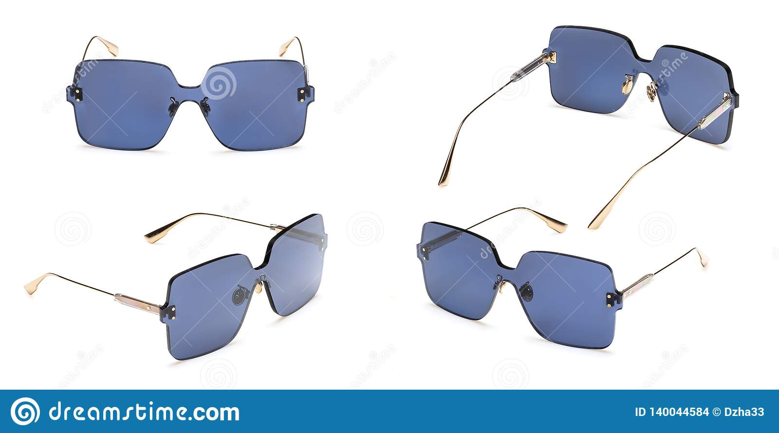 Metal sunglasses with polarizing blue Mirror Lens isolated on white background. Fashionable summer eye glasses collection