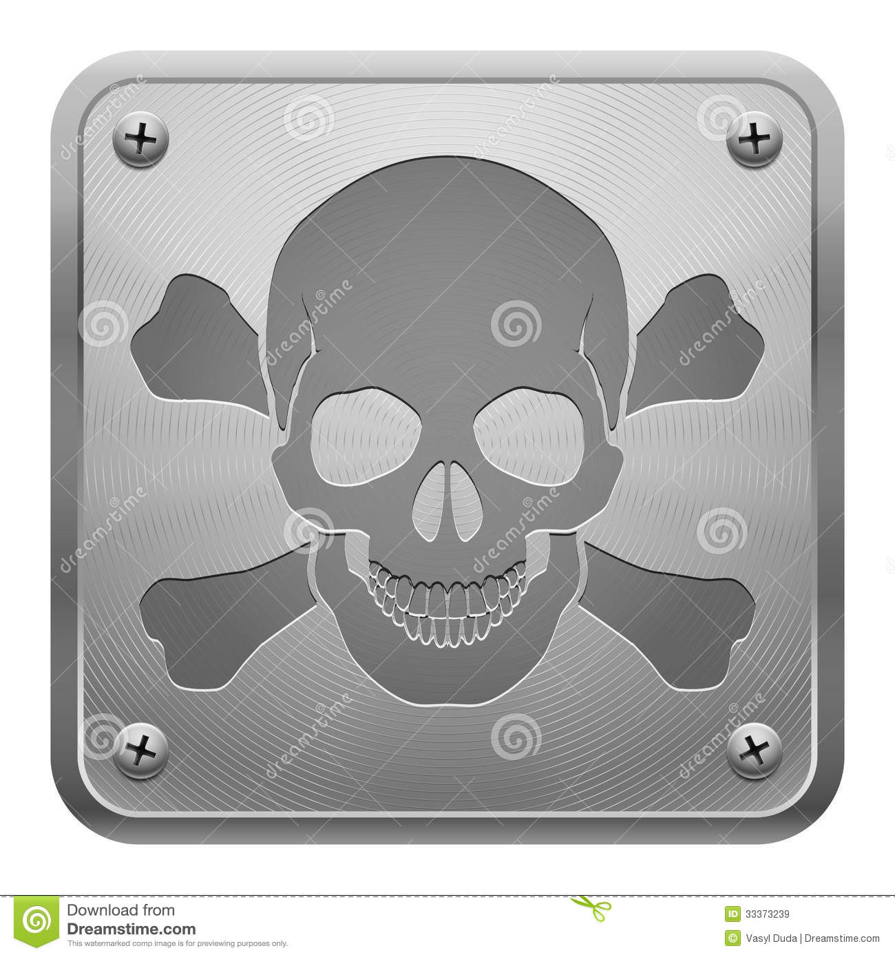 Metal tablet with skull and cross bones royalty free for Table th fixed
