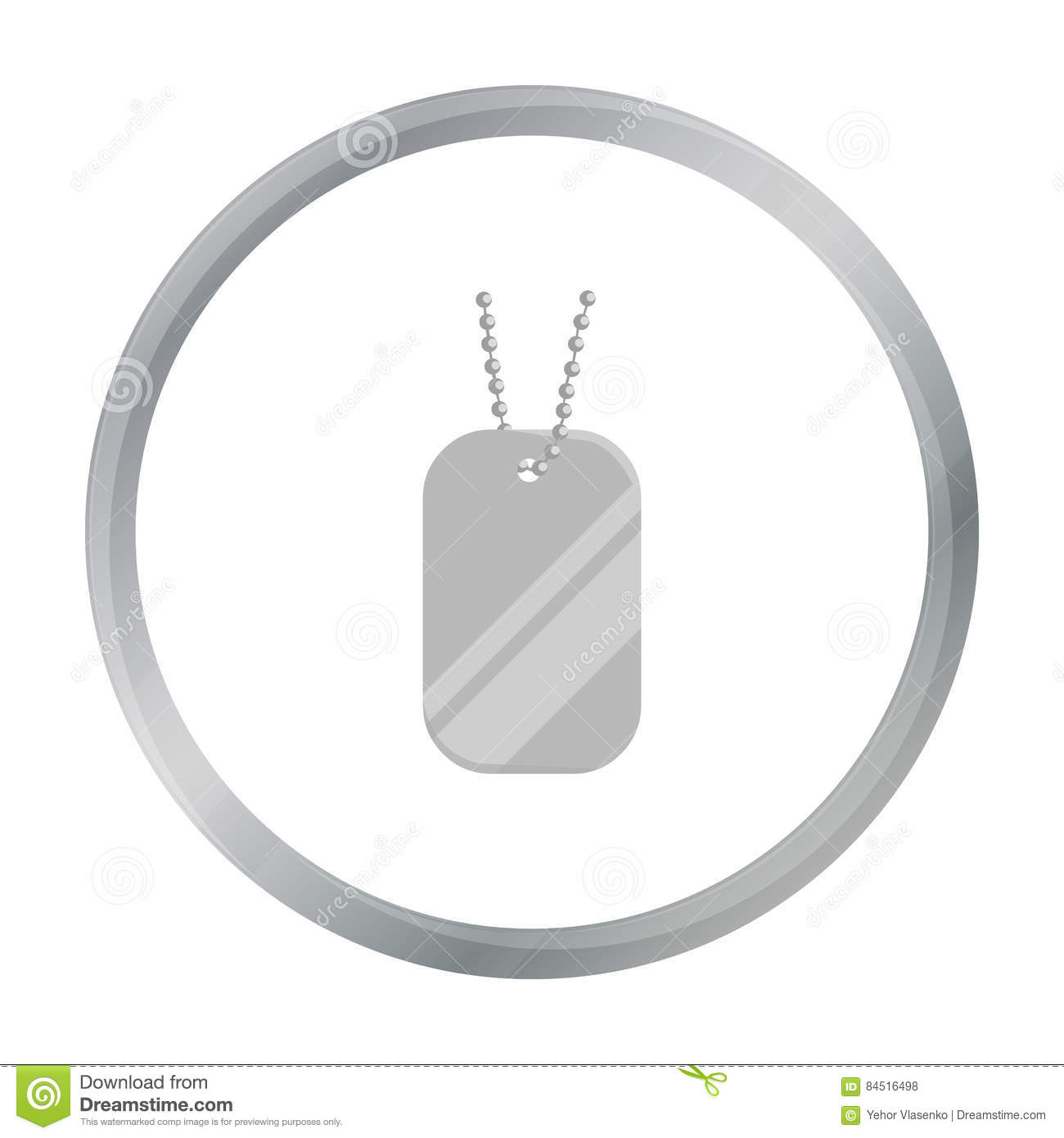 Metal tags hanging on a chain icon cartoon. Single weapon icon from the big ammunition, arms set.