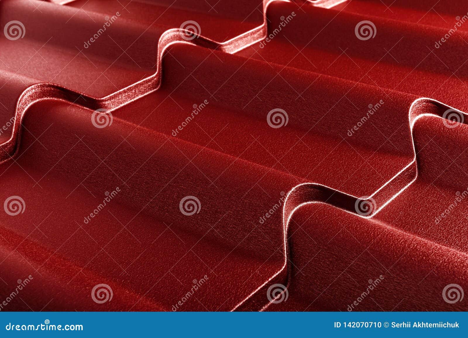Metal tile . Modern roofing material. Diagonal texture