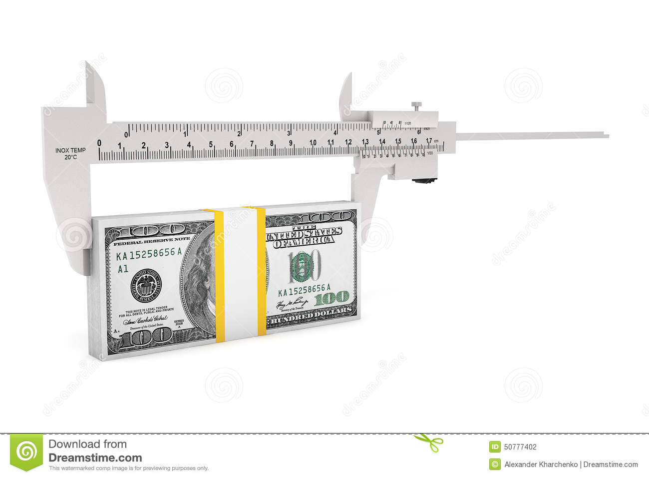 Metal Vernier Caliper With Dollar Notes Stock Photo Image Of Diagram