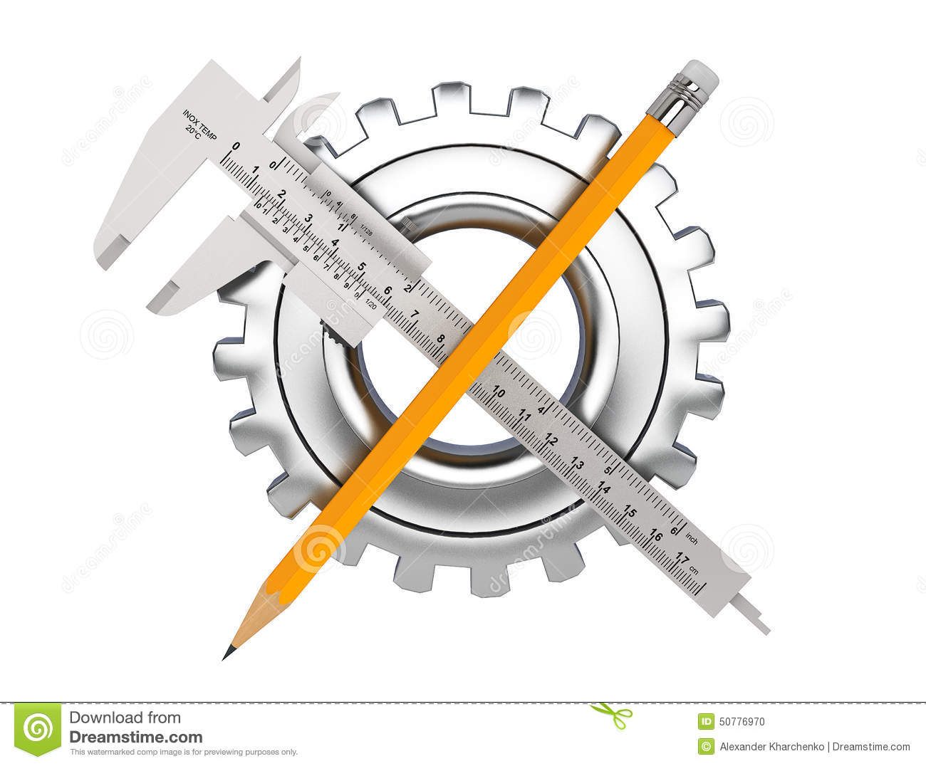 Metal Vernier Caliper With Pencil And Gear Wheel Stock Photo Image Diagram