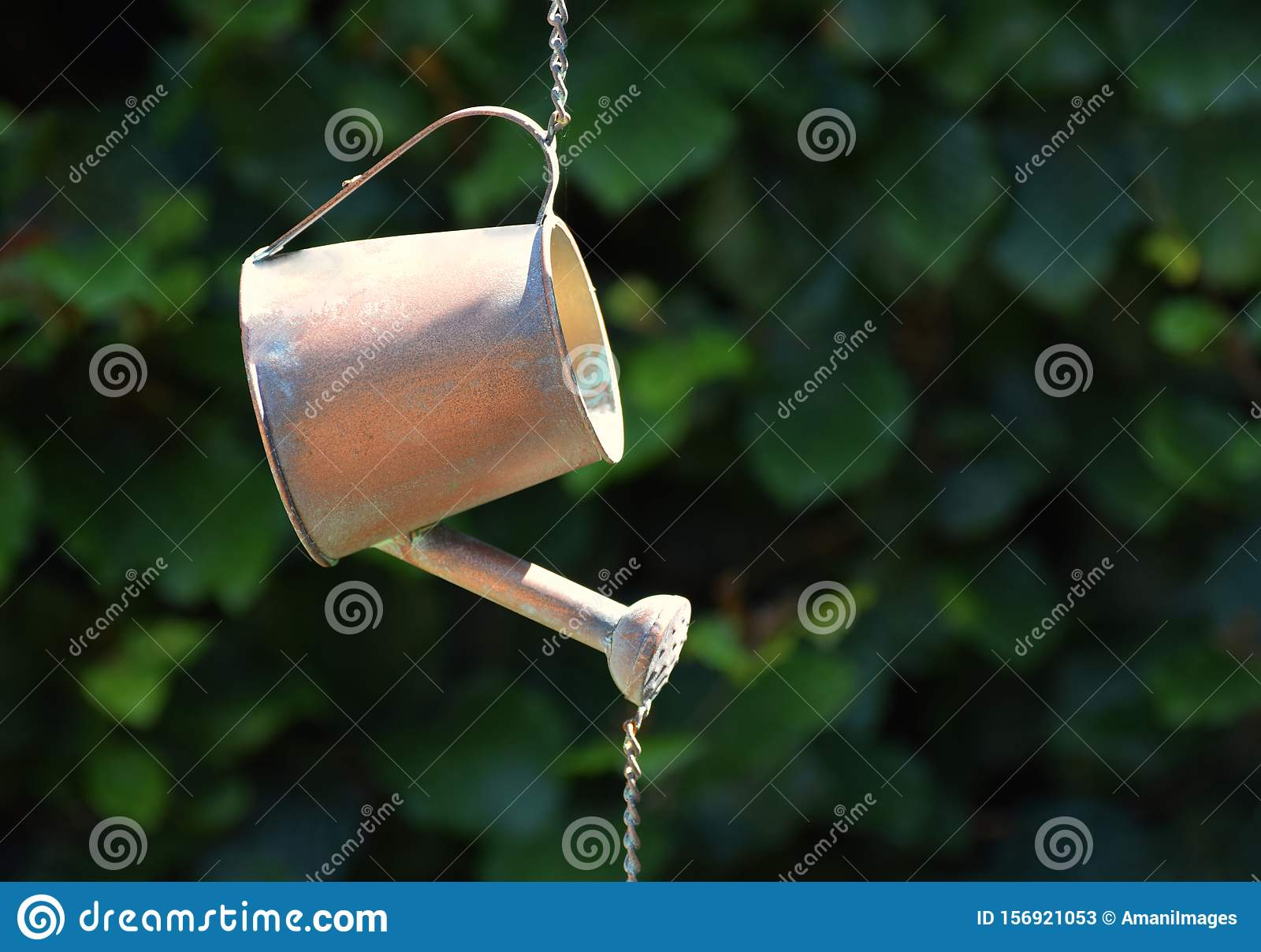 Metal watering can hanging ornament