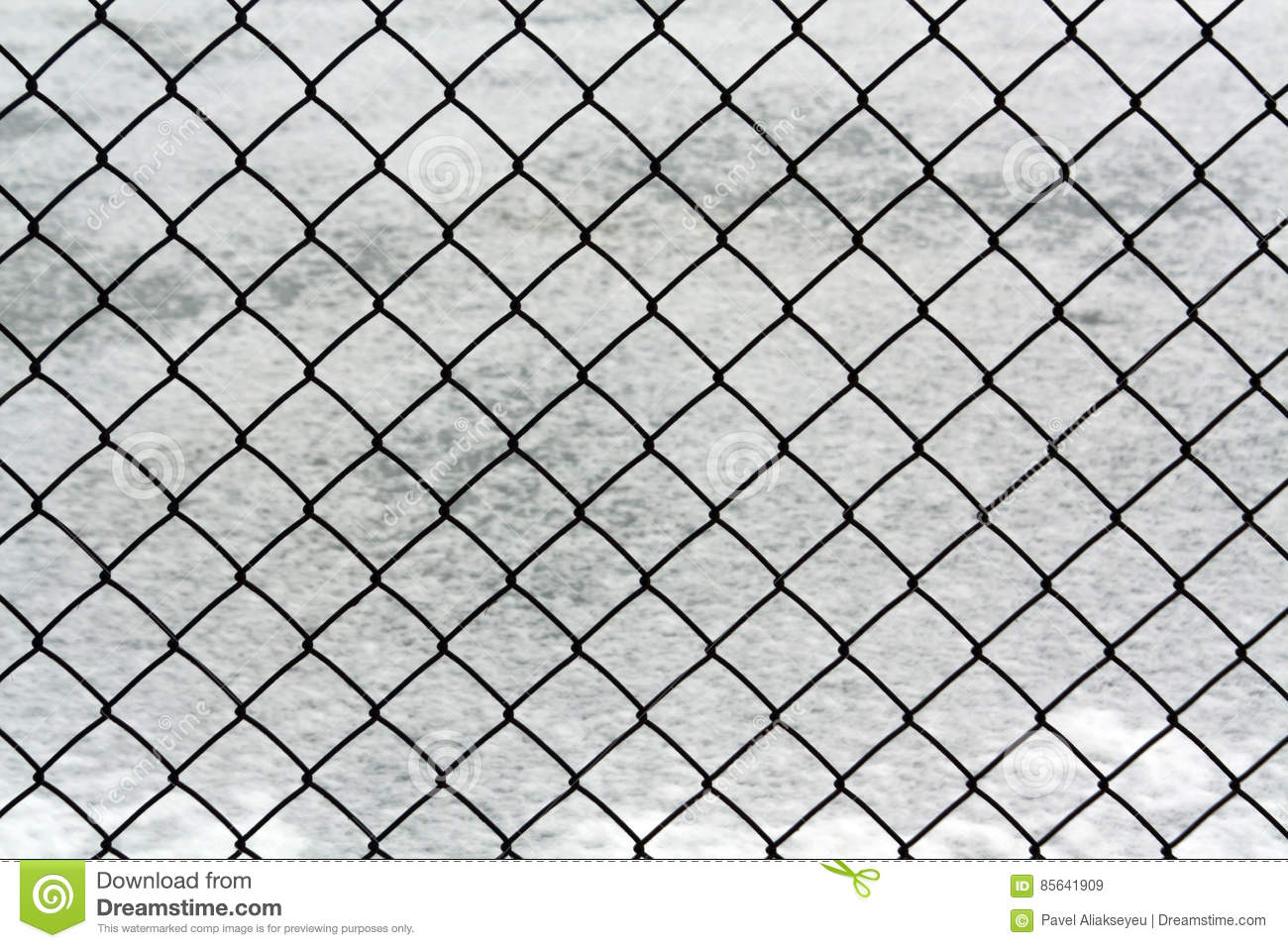 Metal Wire Mesh Fence And Snow. Stock Image - Image of design ...