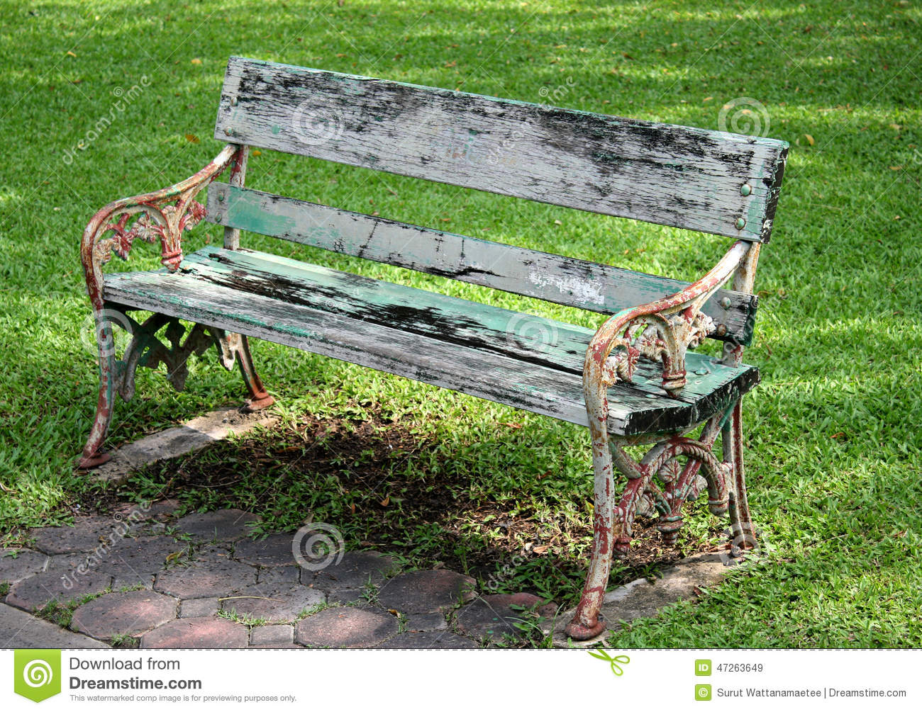Metal And Wood Garden Chair Stock Photo Image 47263649