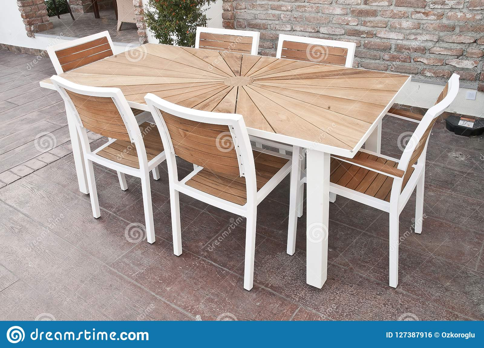 Metal And Wood Outdoor Patio Furniture For Dining Stock Photo Image Of Armchair Deck 127387916