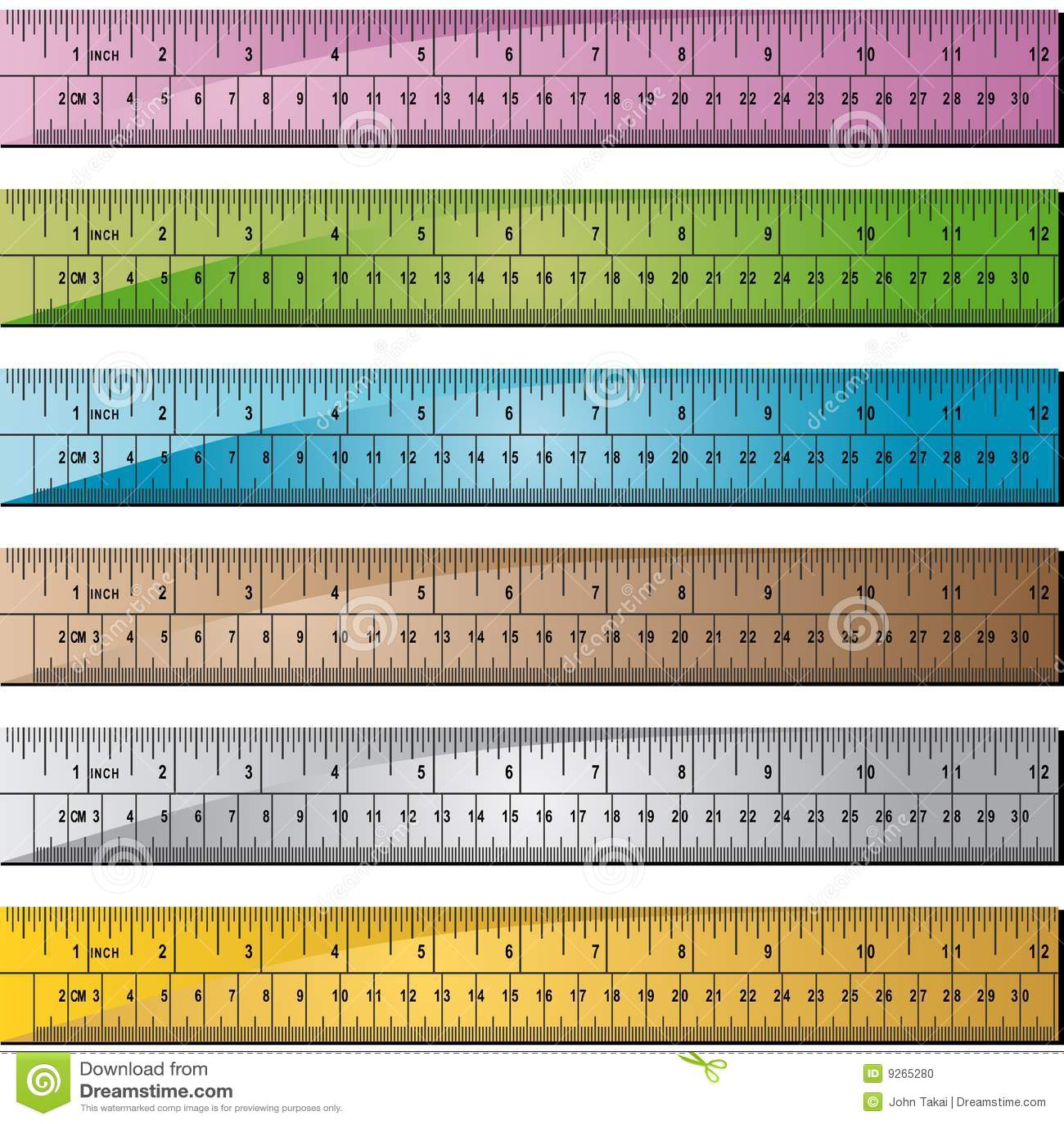Metal Or Wooden Ruler Set Of 6 Stock Vector Illustration