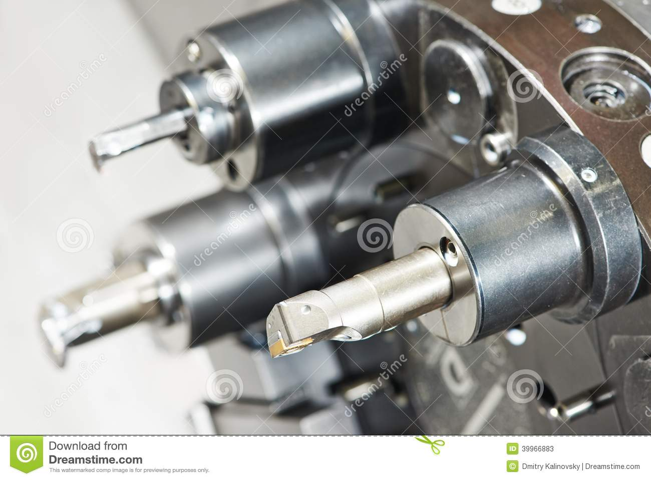 Industrial metal work bore cutting tool on automated lathe.