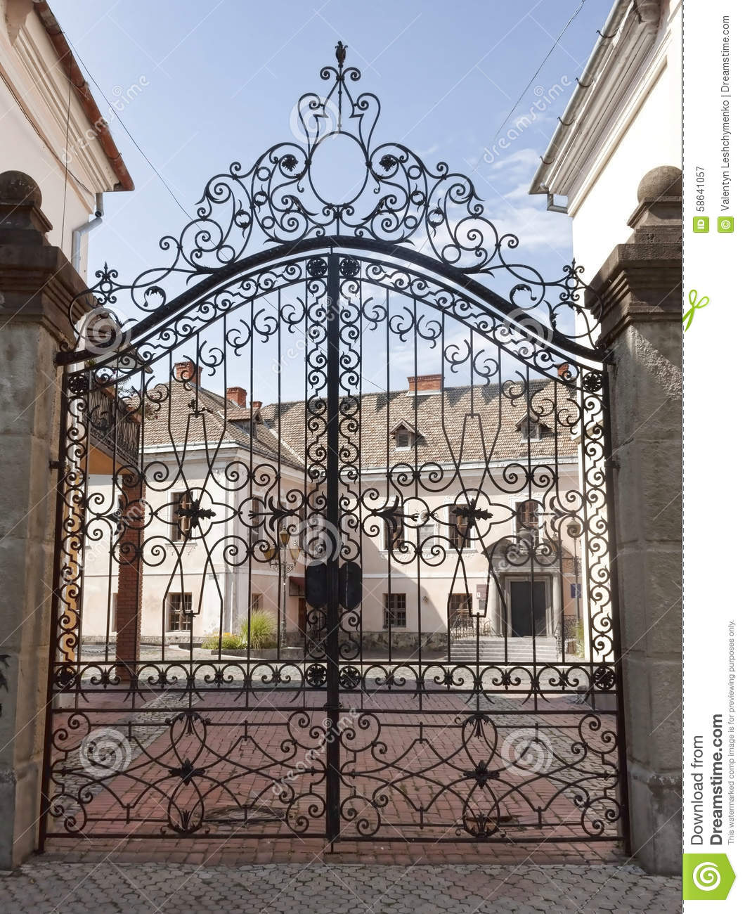 Metal Wrought Iron Gates Stock Photo Image 58641057