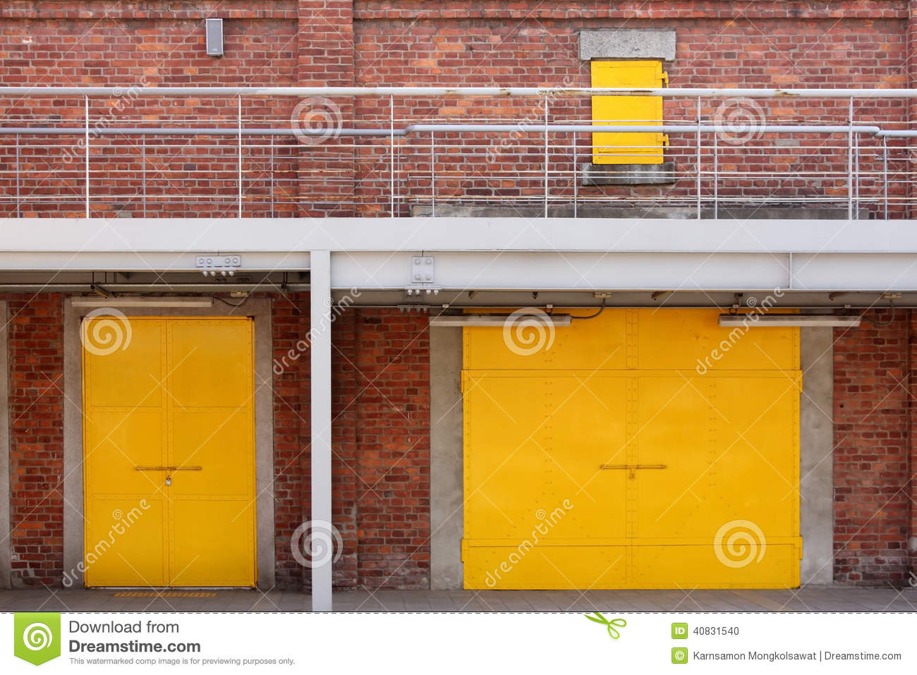 Royalty Free Stock Photo. Download Metal Yellow Factory Door ...