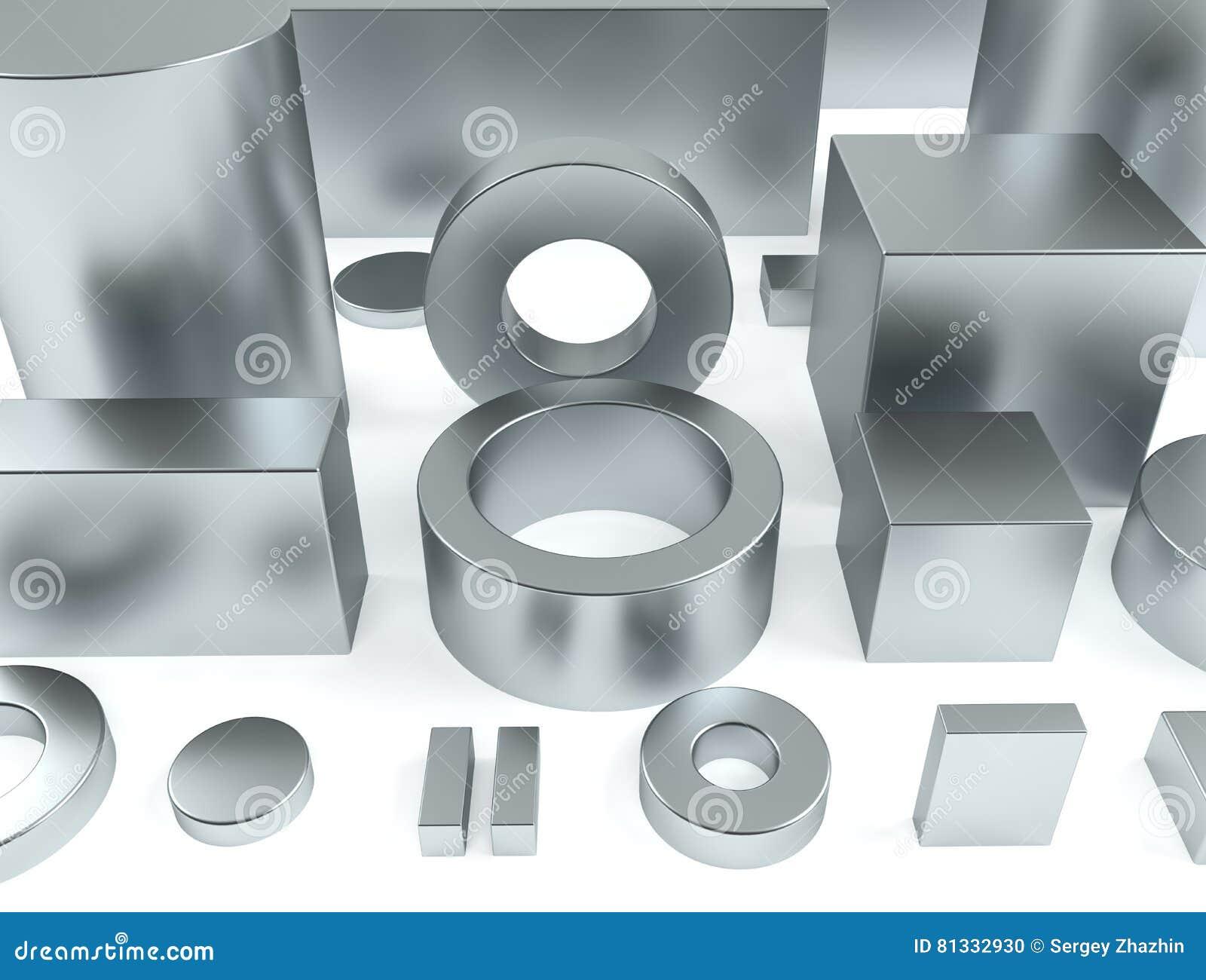 Metali kształty żelazo i neodymów magnesów 3D rendering