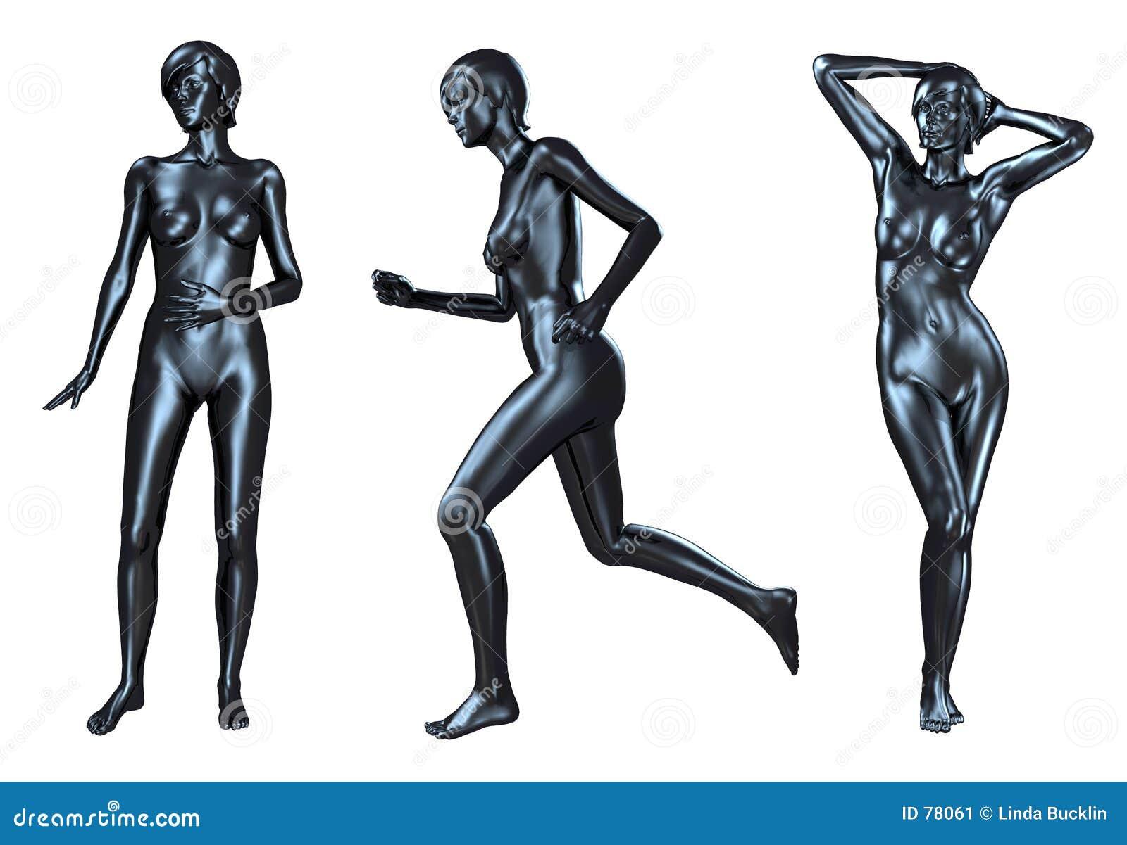 Metalicznej czarnych kobiet nagie 3