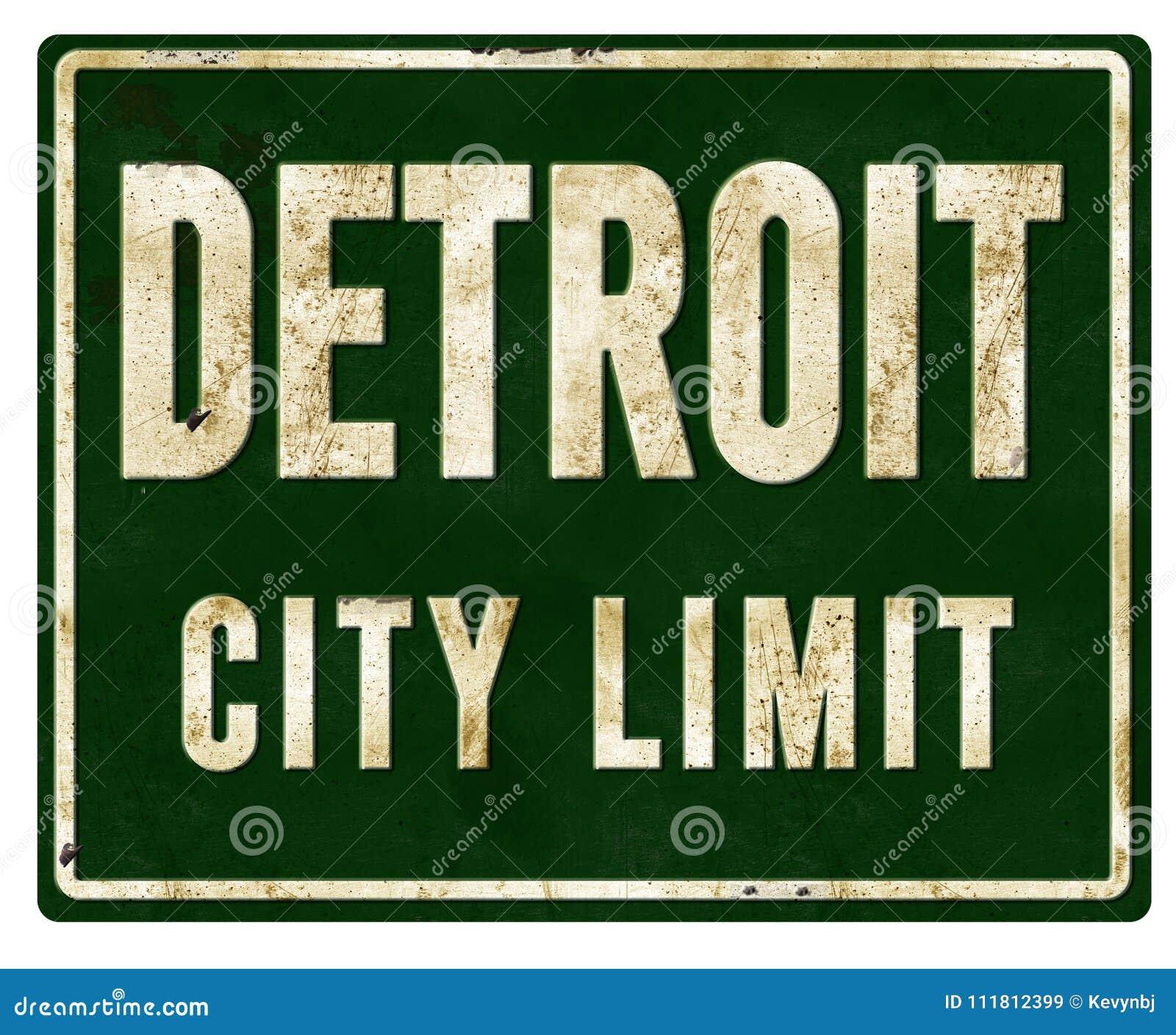 Metall för tecken för Detroit stadsgräns