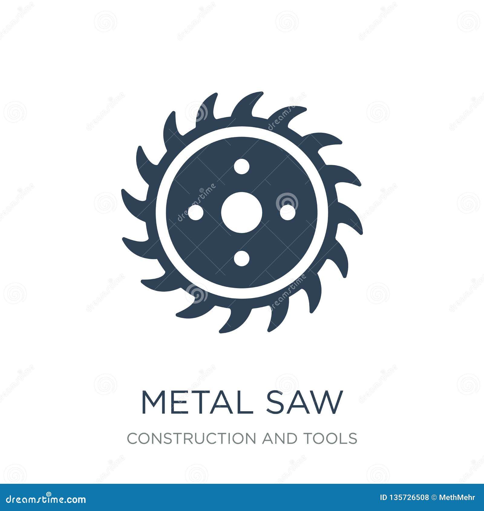 Metall såg symbolen i moderiktig designstil metall såg symbolen som isolerades på vit bakgrund metall såg den enkla och moderna l
