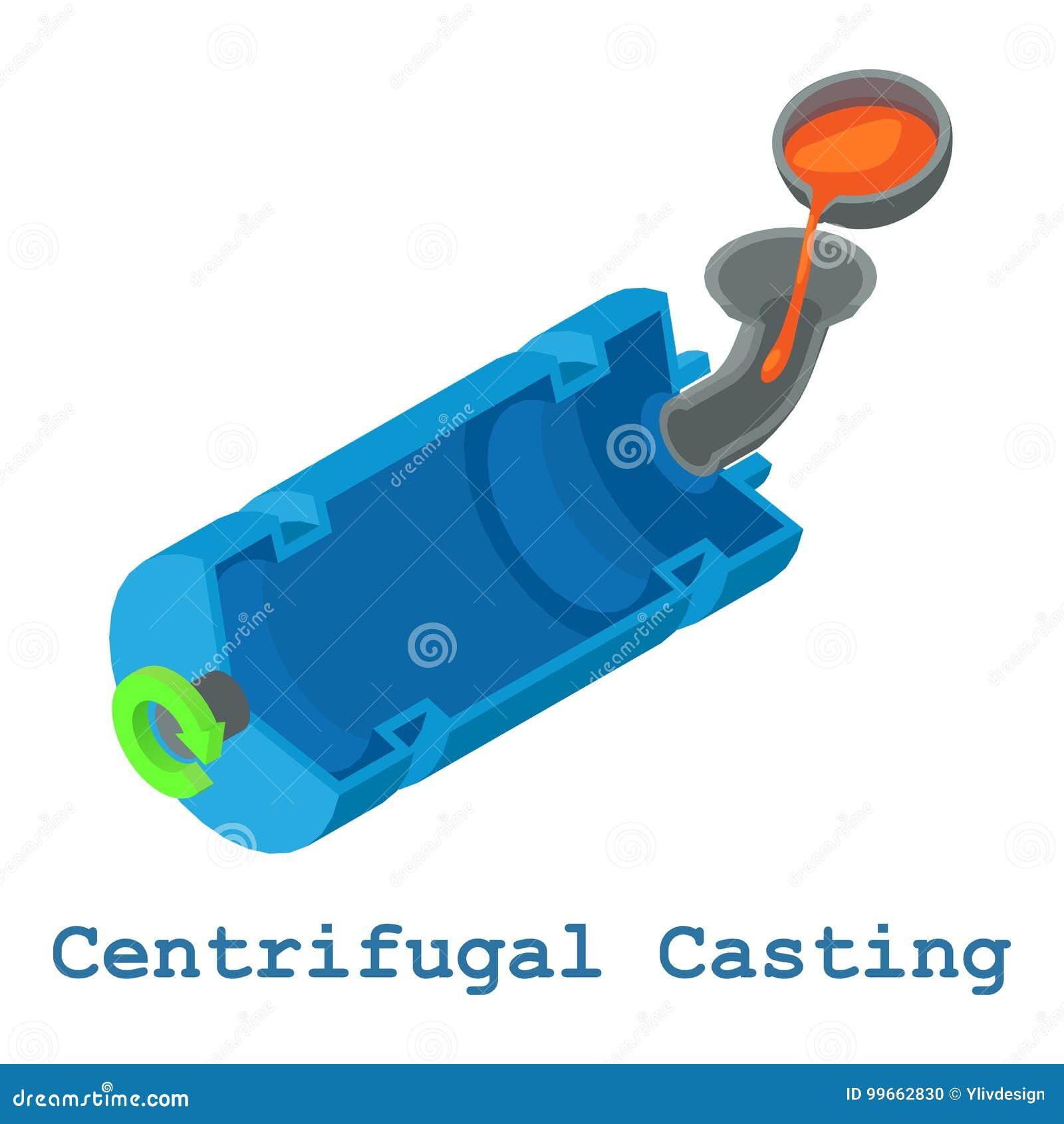 Metallarbetesymbol för centrifugal rollbesättning, isometrisk stil 3d