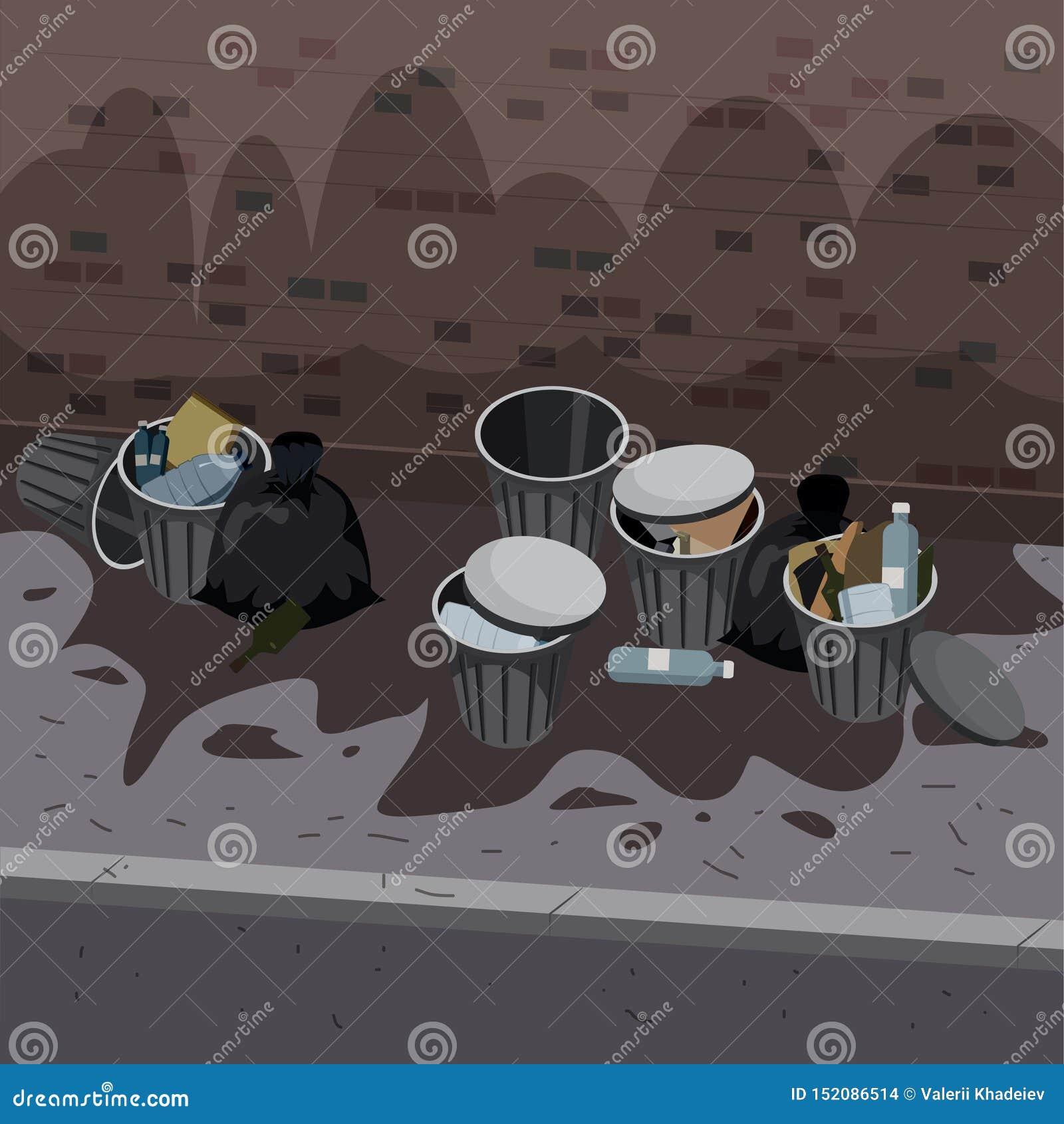 Metallavskrädebehållare med osorterat avfall kasserat på gatayttersidan Racka ner p? och kassera p?sar som ligger runt om f?rr?ds