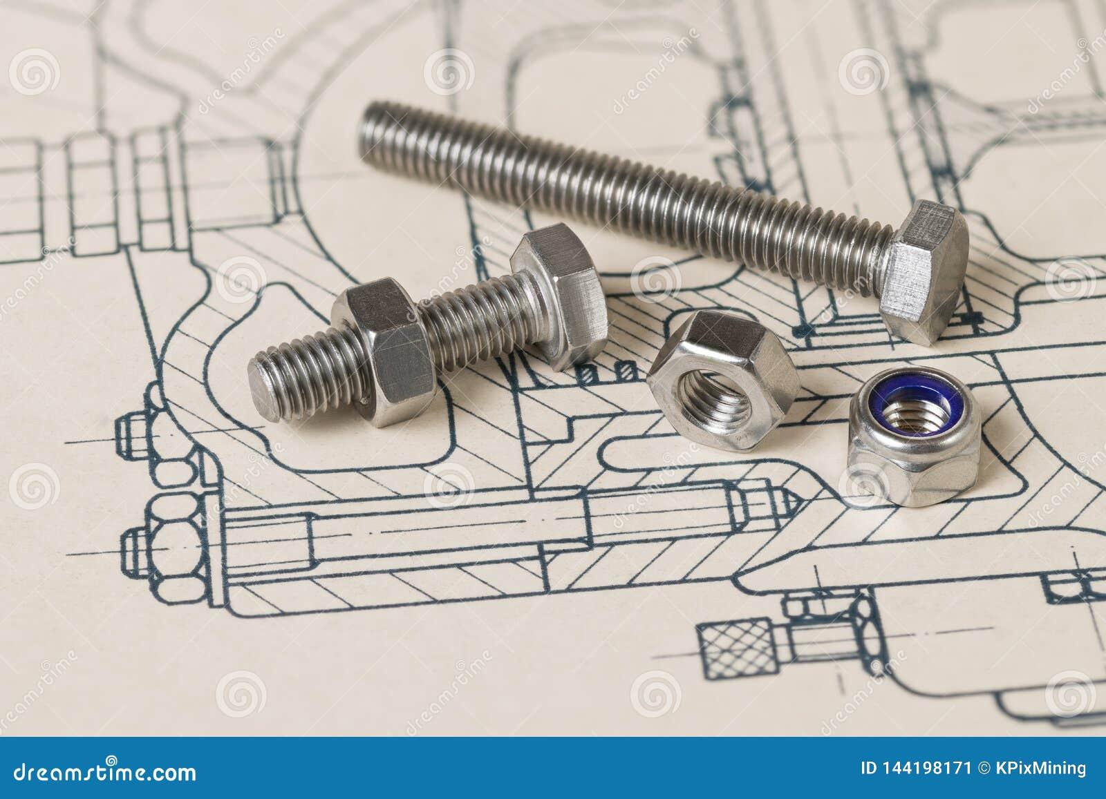 Metallbultar Tokig grupp Teckning Teknisk skissning Stålskruvar