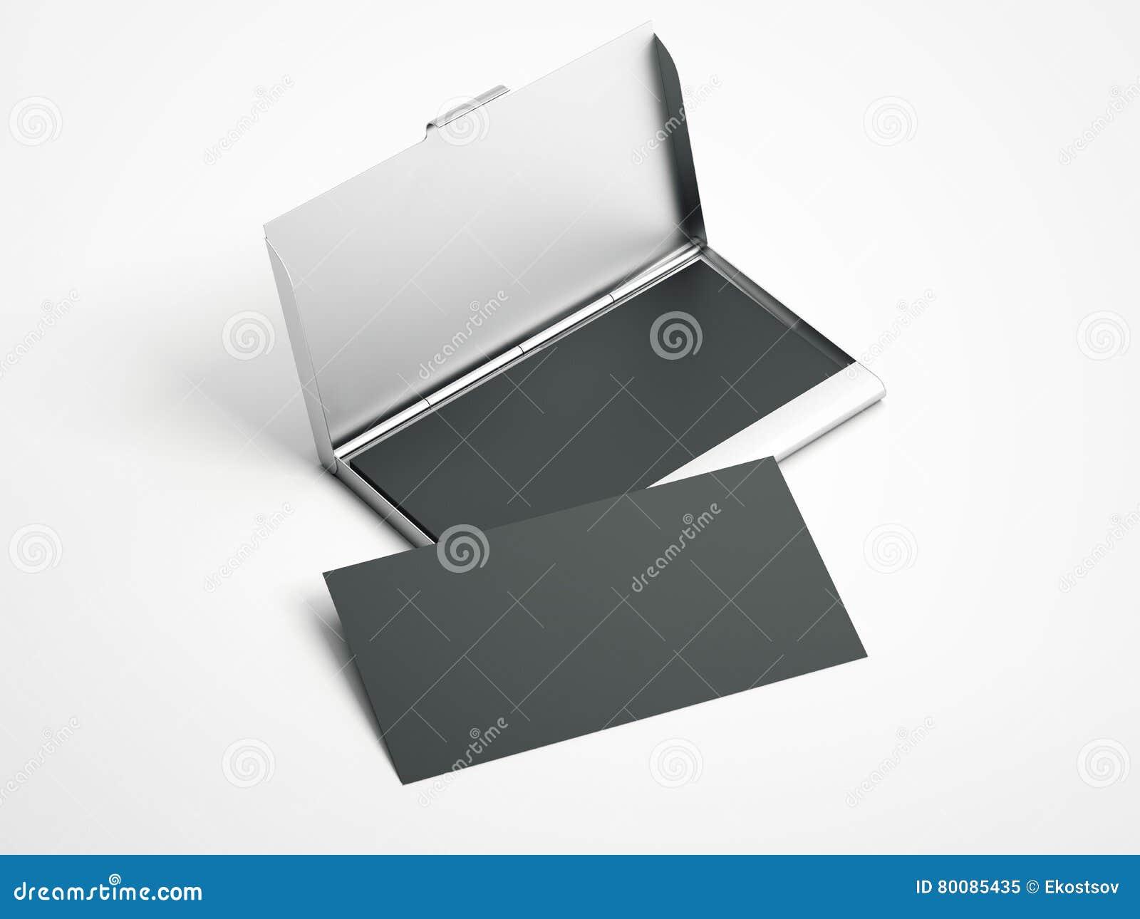 Metallfall med kort för vitmellanrumsaffär framförande 3d
