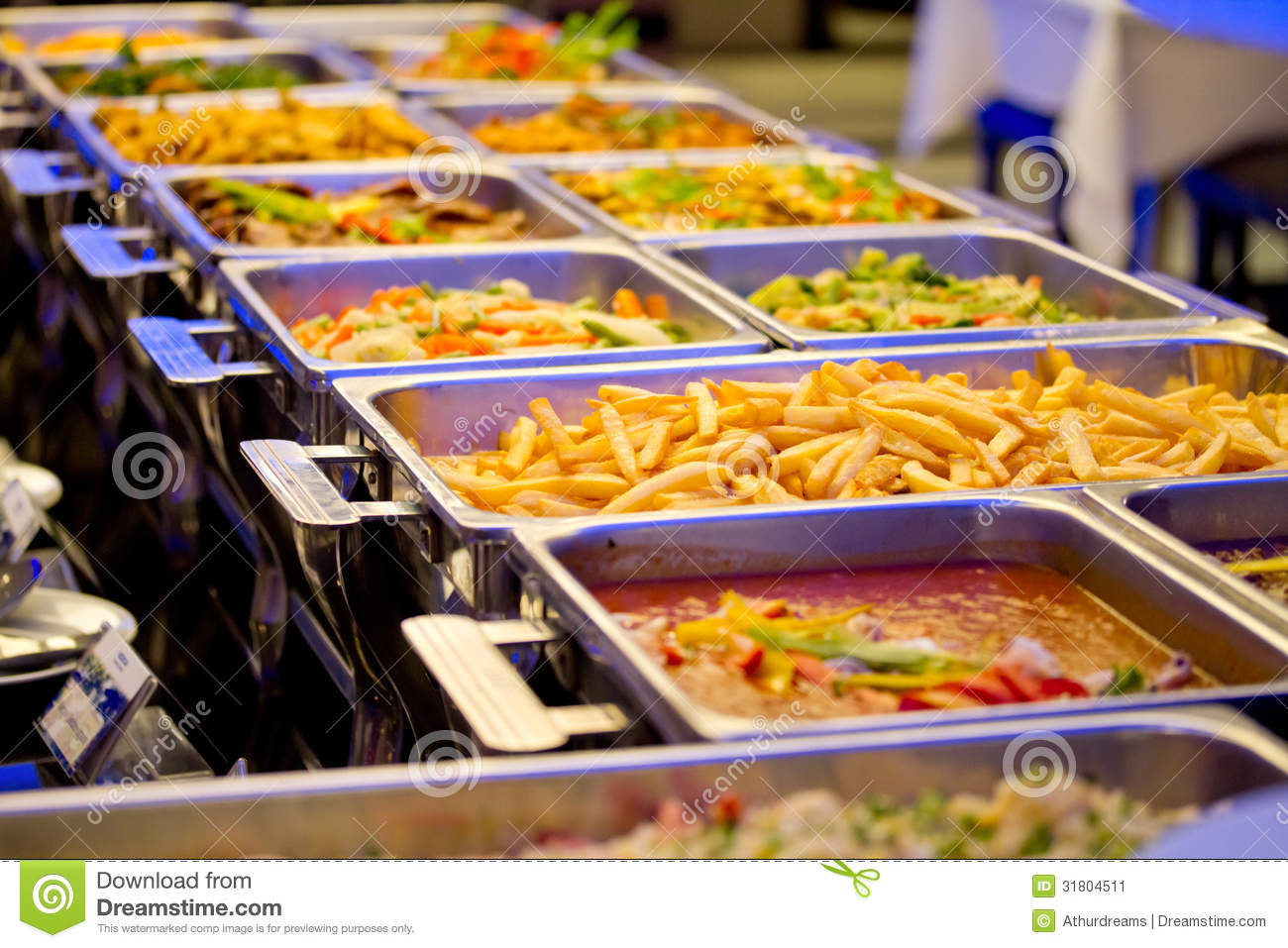 Metallic Banquet Buffet Meal Trays Stock Image Image