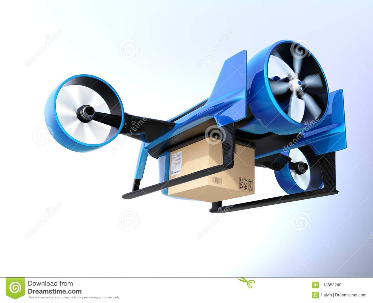 Metallic Blue VTOL Drone Carrying Delivery Package Flying In