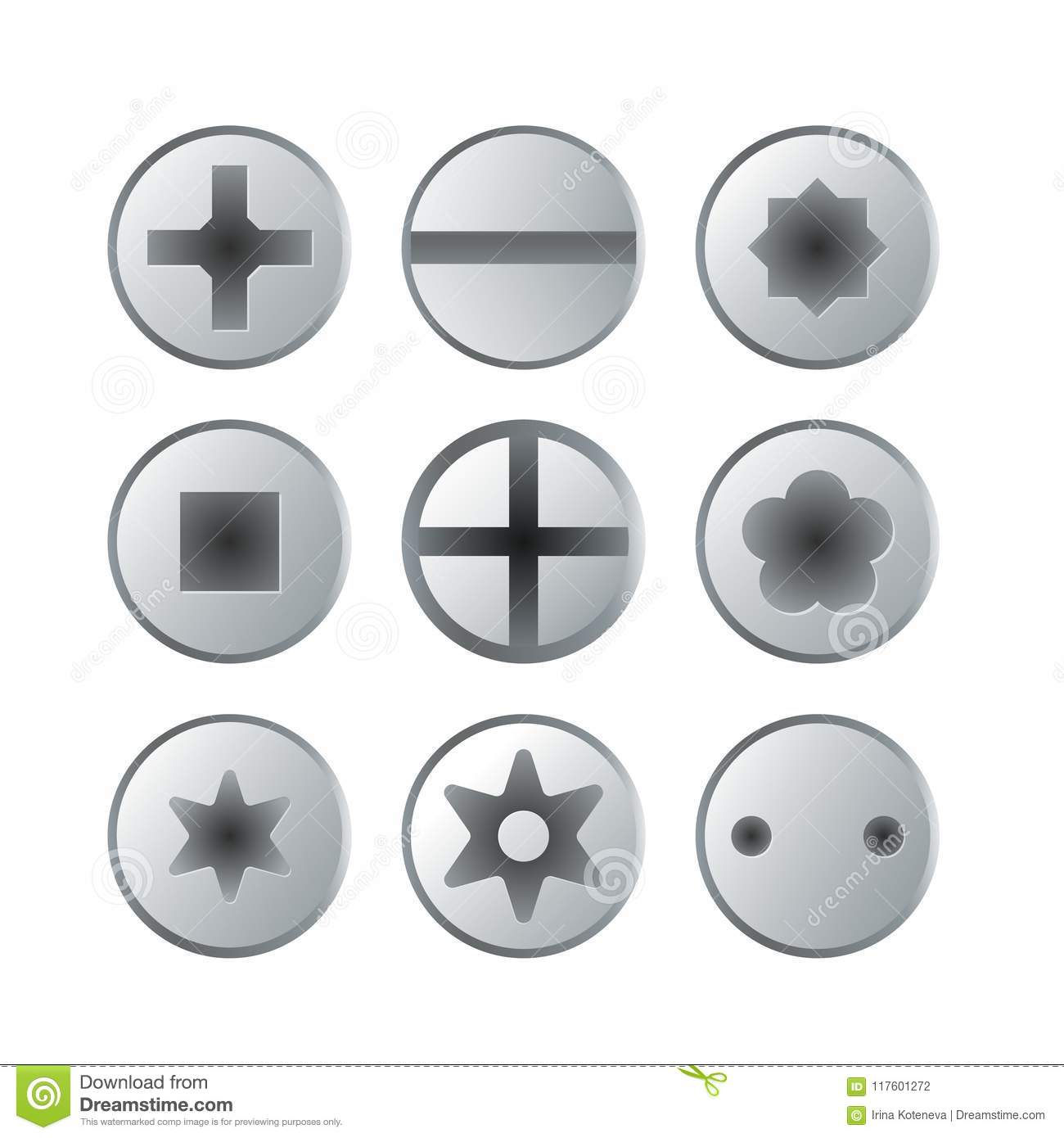 Metallic bolts and screws heads isolated set