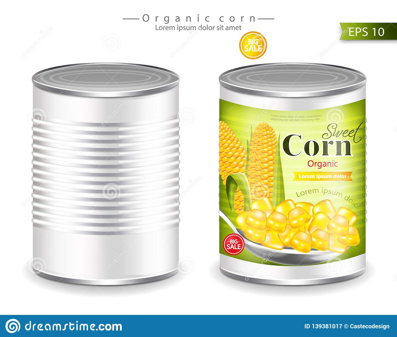 Metallic Canned Corn Vector Realistic. Product Placement