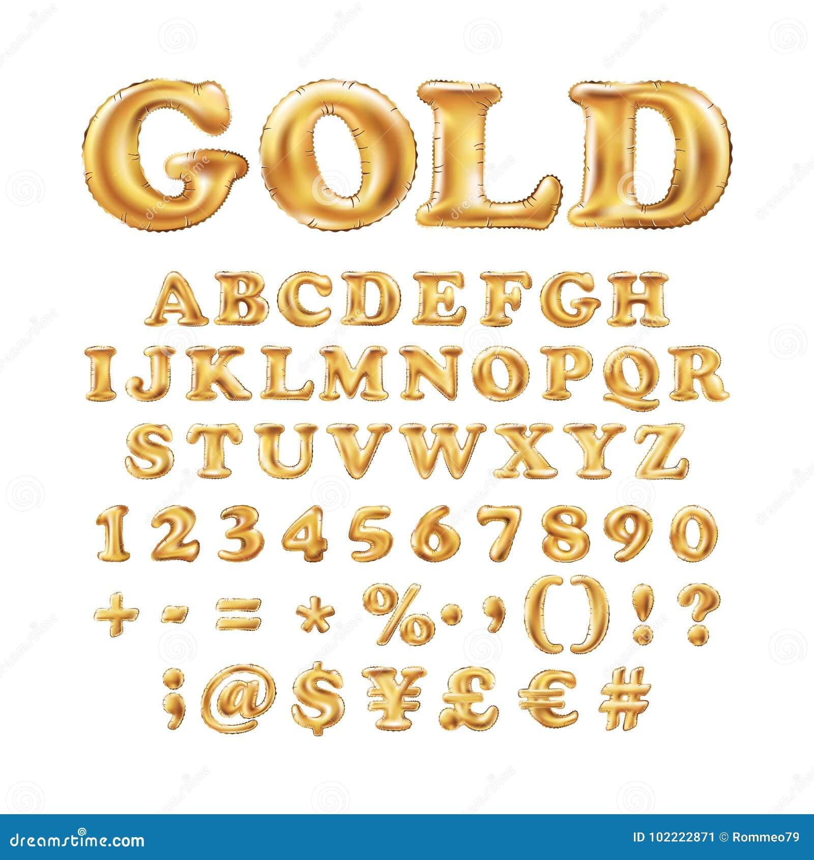 Metallic Gold Alphabet Balloons Golden Letter Type For Text