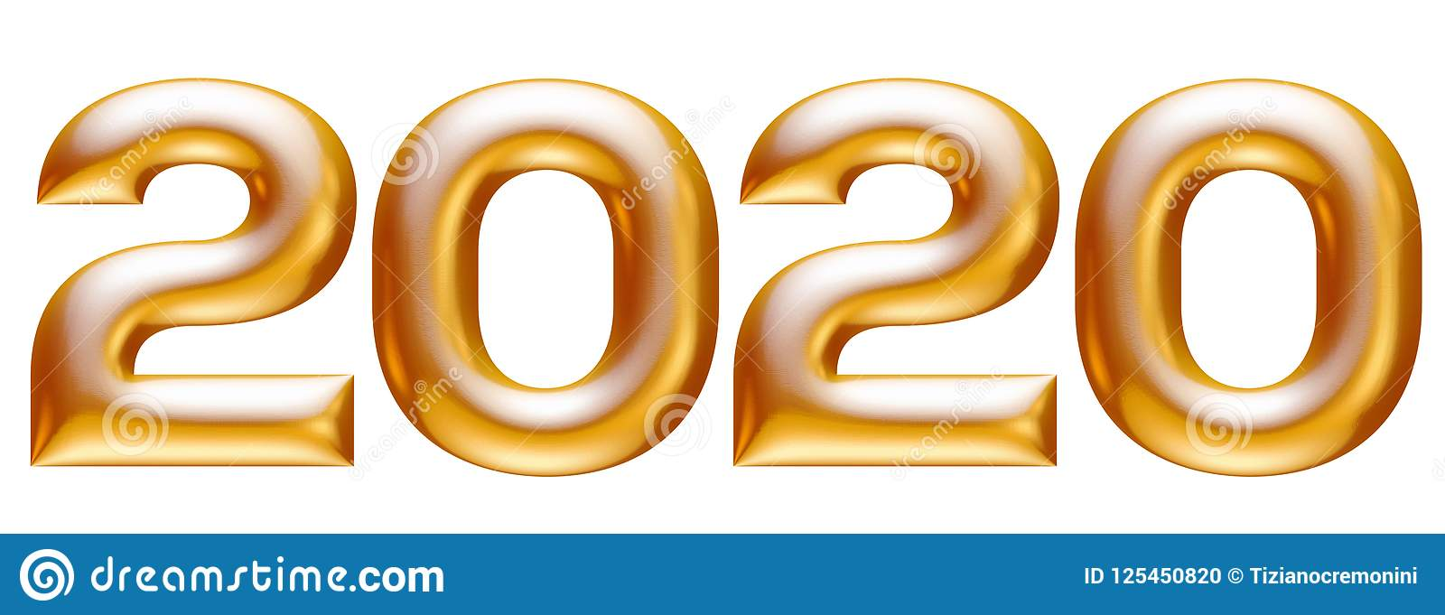 Metallic Gold Alphabet, New Year 2020, 3d Illustration ...