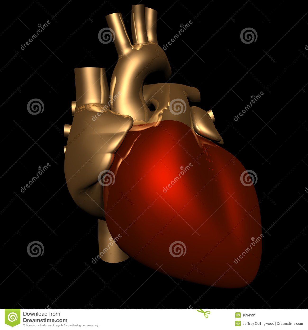 Metallic Heart In Gold And Red Stock Image - Image: 1634391