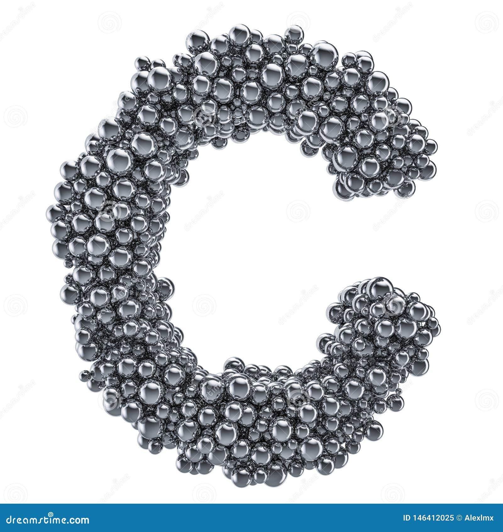 Metallic Letter C From Metal Balls, 3D Rendering Stock ...